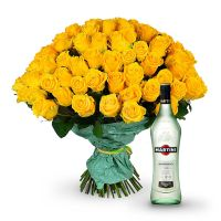Bouquet «101 yellow roses» + Martini Bianco | buy now on UFL