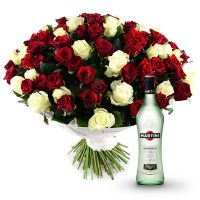 Bouquet «101 red-and-white roses» | make the order