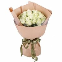 Bouquet 25 white roses Avalanch