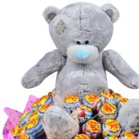 Buy bouquet of lollipop and teddy bear