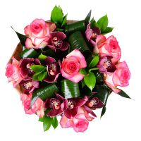 Buy bouquet of roses and orchids «Burgundy»