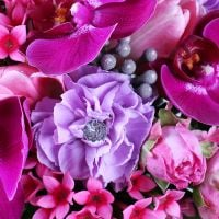 Order purple orchid bridal bouquet «Raspberry dream» in online flower shop with delivery