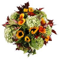 The boquet Sweet November, autumn bouquet, bouquet of sunflowers, bouquet of autumn leaves. bright b