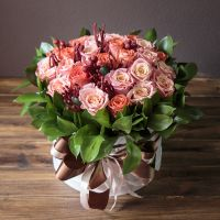 Bouquet of flowers in box «Coral» with international flower delivery