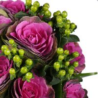 Buy a bunch of ''With Brassica'' with delivery. Beautiful bouquet with ornamental cabbage.