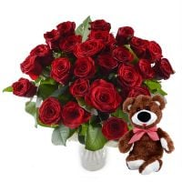 Promo! Ruby bouquet + teddy bear for free!!!