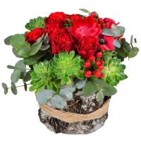 Bright rose bouquet «Pomegranate» buy in flower shop