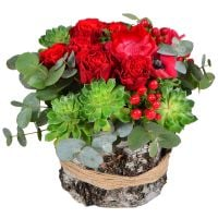 Bright rose bouquet �Pomegranate� buy in flower shop