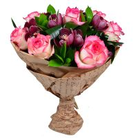 Buy bouquet of roses and orchids �Burgundy�