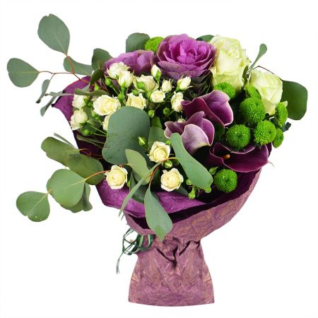 Buy bouquet of roses and calla «French garden» with delivery