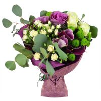 Buy bouquet of roses and calla �French garden� with delivery