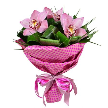 Buy extraordinary «Three orchids» bouquet with the same day delivery