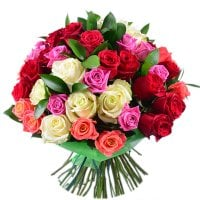 Bouquet Multicolored roses (51 pcs)