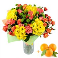 Bouquet «For a woman», bouquet with oranges, bright bouquet