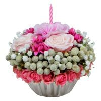 Original bouquet «Floral cupcake» in the flower webshop