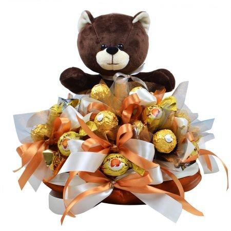 Buy bouquet of chocolates with teddy bear.