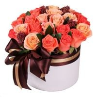 Bouquet of flowers in box �Coral� with international flower delivery