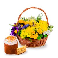 Basket of sunny flowers + Easter cake