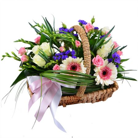 Bouquet Flower basket with ribbon