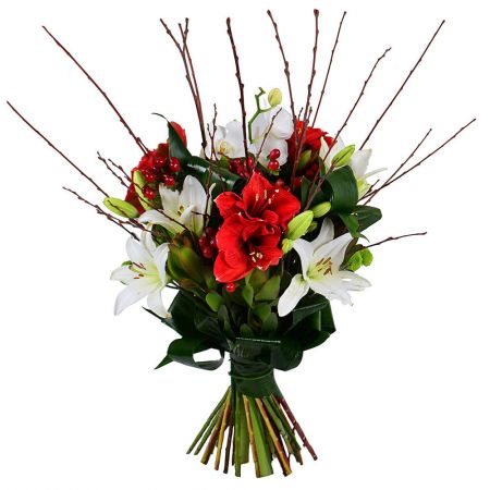 Order beautiful bouquet «Red and white exotic» with delivery