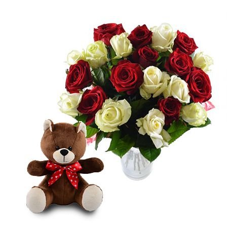 Buy unique bouquet «Red and white roses + teddy bear as a gift»