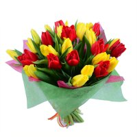 Bouquet Red and yellow tulips