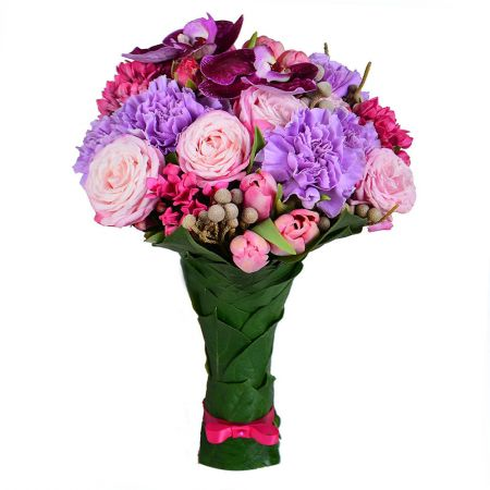 Buy bouquet in lilac tones «Crimson flattery»