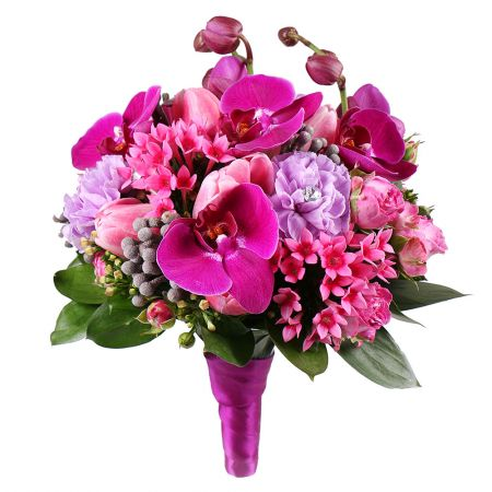 Order purple orchid bridal bouquet �Raspberry dream� in online flower shop with delivery