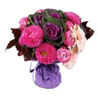 Autumn bouqet, raspberry bouquet , bouquet with asters, bouquet with antumn leaves, bouquets with as