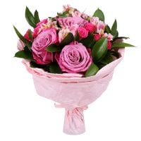 Bouquet Mix of Flowers in Pink Tones
