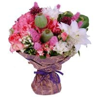 Buy a delicate bouquet with roses ''Milky pink'' with delivery