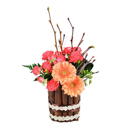 A beautiful bouquet of roses and gerberas 'Summer Sunset' to buy with delivery