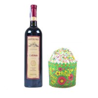 Buy set of red wine and easter cake with delivery