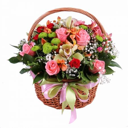 Buy delicate orchid bouquet in basket «Pastel Mix» with the best flower delivery