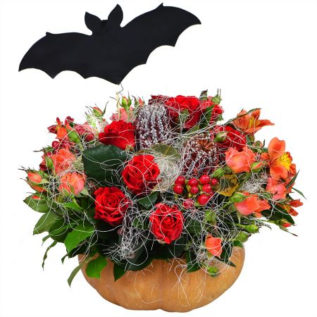 Autumn bouquet in pumpkin «Gift from Batman» with delivery