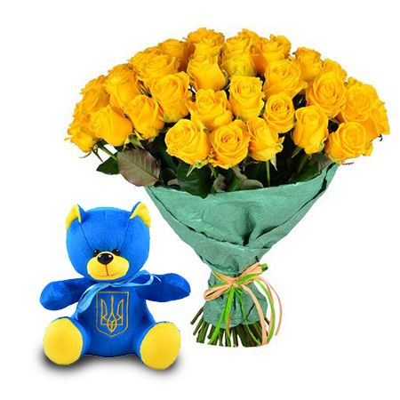 Exclusive bouquet «Present in the yellow & blue shades» with delivery