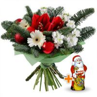 Bouquet Happy New Year+Chocolate Santa Claus