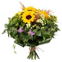 Order exclusive bouquet «With sunflowers» in flower delivery service