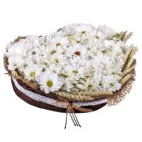 Order cute chrysanthemum bouquet �Snow Heart� with delivery