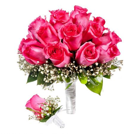 To order a bridal bouquet and boutonniere «Wedding melody» with delivery