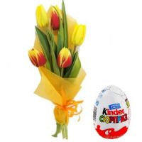 Order bouquet «Mix of tulips» + Kinder Surprise in online shop