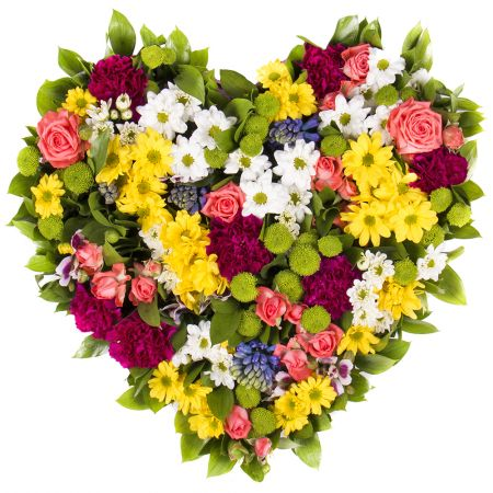 Bouquet of season flowers in form of heart «Spring Fantasy»