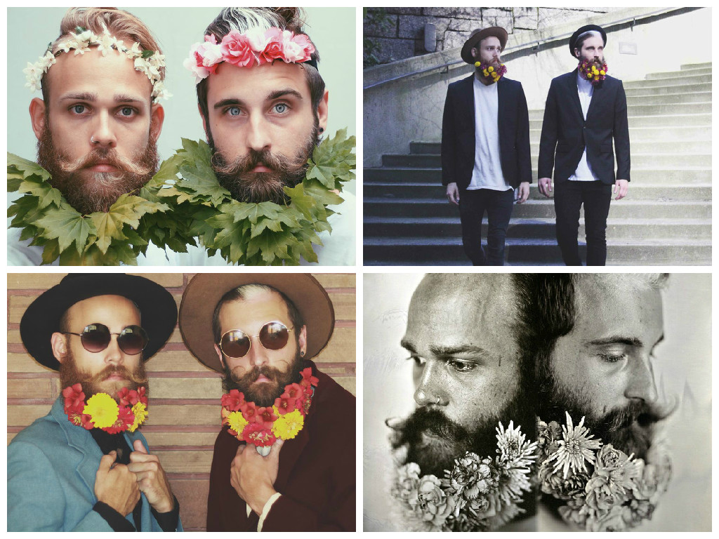 Beards with flowers