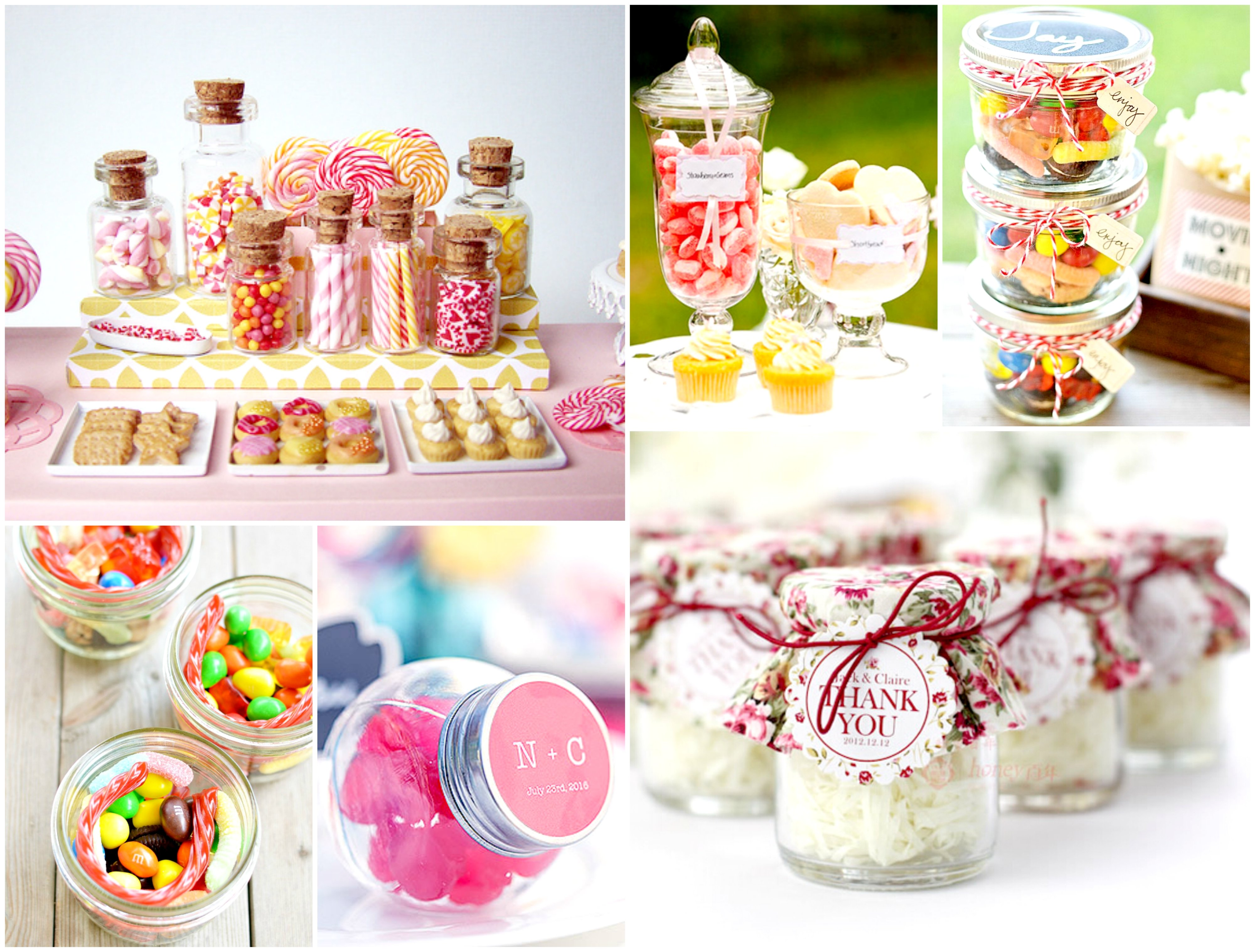 Sweets in glass vases