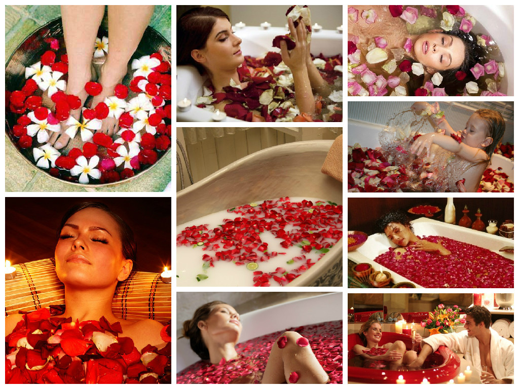 Bath with rose petals