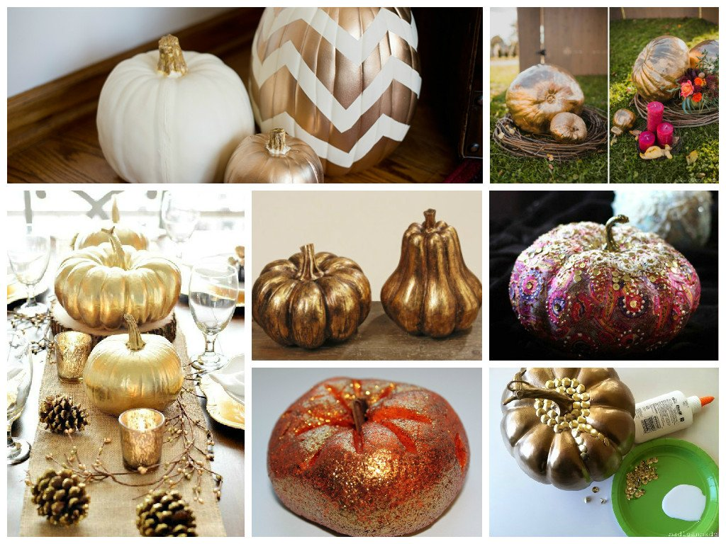 Gleaming pumpkin decor