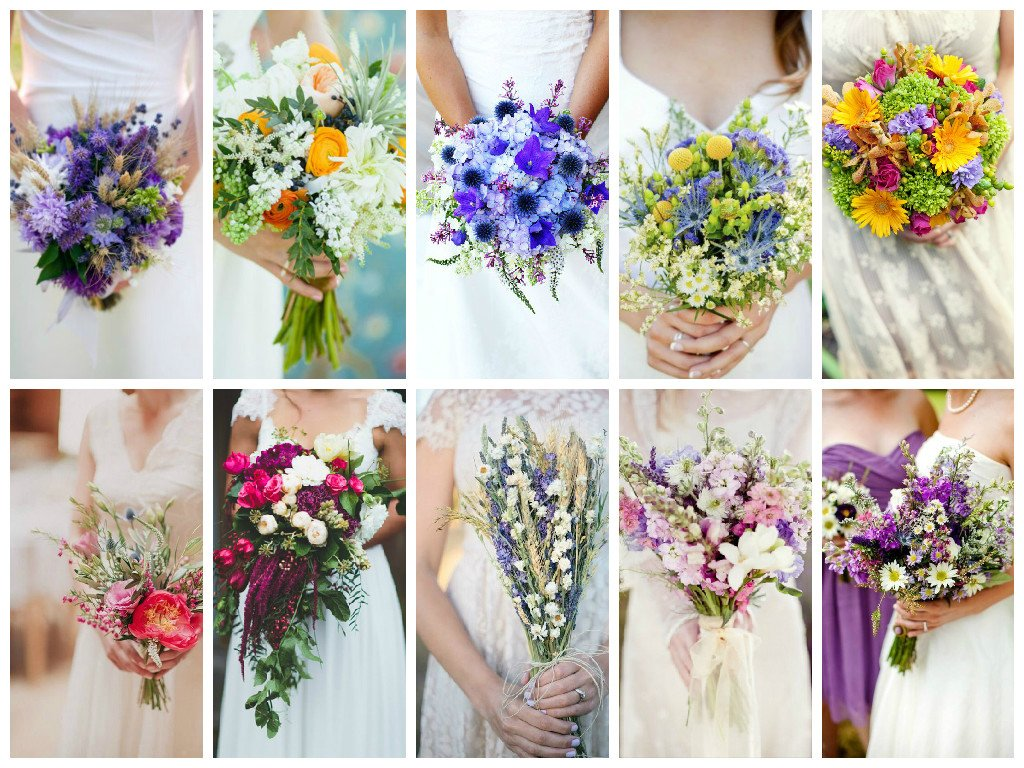 Wedding bouquet of wild flowers